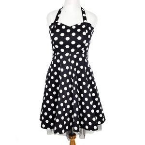 Hot Topic Retro Polkadot Halter Swing Dress